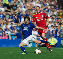LIVERPOOL, ENGLAND - Saturday, October 1, 2011: Everton's Leighton Baines in action against Liverpool during the Premiership match at Goodison Park. (Pic by David Rawcliffe/Propaganda)