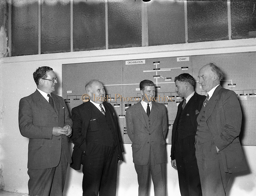 Mr William Norton (2nd from left), Minister for Industry and Commerce at Irish Ropes Ltd.<br /> 05/07/1954