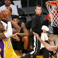 15 November 2016: Los Angeles Lakers forward Julius Randle (30) takes a jump shot over Brooklyn Nets forward Luis Scola (4) during the LA Lakers 125-118 victory over the Brooklyn Nets, at the Staples Center, Los Angeles, California, USA.