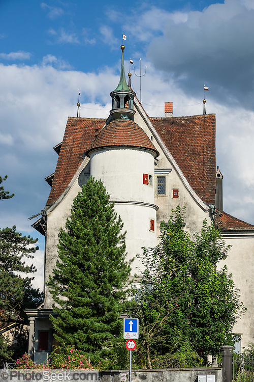The Schloss (castle) building, east of the Postplatz in Appenzell village, Switzerland, Europe. The Schloss has been privately owned since 1708 by the Sutter family, who still reside there, and it is not open to the public. Right next to the castle is the Convent of Mary the Angel, which was built by the Capuchin religious order in the early 1680s.