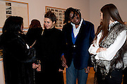 CLEO ROBERTS;; YINKA SHONIBARE;  VICKI TSAVDARIS; , Susan Hiller opening, Tate Britain. 31 January 2010. -DO NOT ARCHIVE-© Copyright Photograph by Dafydd Jones. 248 Clapham Rd. London SW9 0PZ. Tel 0207 820 0771. www.dafjones.com.