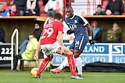 Southend United Forward, Marc-Antoine Fortune (14) takes on Swindon Town Defender, Raphael Rossi Branco (29) during the EFL Sky Bet League 1 match between Swindon Town and Southend United at the County Ground, Swindon, England on 2 January 2017. Photo by Adam Rivers.