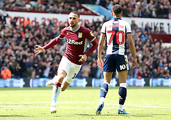 Aston Villa's Conor Hourihane (left) celebrates scoring his side's first goal of the game