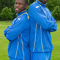 St Johnstone Signings....26.06.12<br /> New St Johnstone signings Nigel Hasselbaink (left) and Gregory Tade<br /> Picture by Graeme Hart.<br /> Copyright Perthshire Picture Agency<br /> Tel: 01738 623350  Mobile: 07990 594431