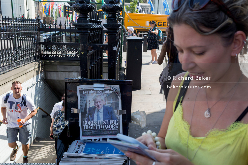 On the day that the Conservative Party elects its leader and the country's Prime Minister, Boris Johnson appears on the front page of the London newspaper The Evening Standard, on 23rd July 2019, in Westminster, London, England.