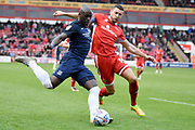 Walsall defender James Wilson (14) attempts to block Southend United forward Marc-Antoine Fortune (9) cross 0-1 during the EFL Sky Bet League 1 match between Walsall and Southend United at the Banks's Stadium, Walsall, England on 28 October 2017. Photo by Alan Franklin.