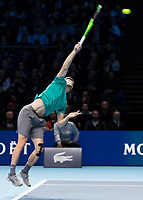 Tennis - 2017 Nitto ATP Finals at The O2 - Day Eight<br /> <br /> Final : Grigor Dimitrov (Bulgaria) Vs David Goffin (Belguim) <br /> <br /> David Goffin (Belguim) serving at the O2 Arena <br /> <br /> COLORSPORT/DANIEL BEARHAM