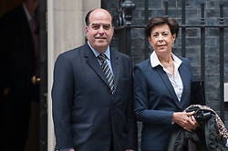© Licensed to London News Pictures. 07/09/2017. London, UK. Head of Venezuela's National Assembly Julio Andrés Borges and Antonieta López, mother of Leopoldo López, are seen in Downing Street after talks with Europe and the Americas Minister Alan Duncan to discuss the political situation in Venezuela.  Leopoldo López, co-founder of the political party Primero Justicia with Julio Andrés Borges, is currently under house arrest in Venezuela.   Photo credit : Stephen Chung/LNP