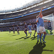 NEW YORK, NEW YORK - May 29:  Frederic Brillant #13 of New York City FC celebrates after heading his side first goal past goalkeeper Joseph Bendik #1 of Orlando City FC during the New York City FC Vs Orlando City, MSL regular season football match at Yankee Stadium, The Bronx, May 29, 2016 in New York City. (Photo by Tim Clayton/Corbis via Getty Images)