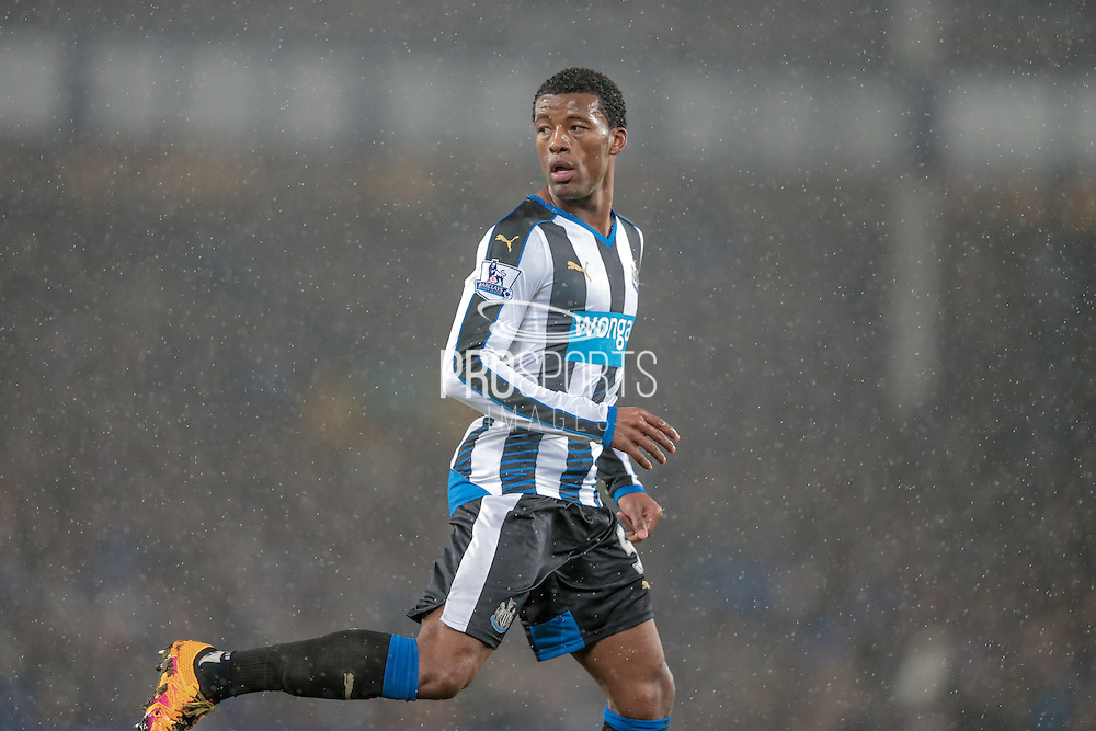Georginio Wijnaldum (Newcastle United) during the Barclays Premier League match between Everton and Newcastle United at Goodison Park, Liverpool, England on 3 February 2016. Photo by Mark P Doherty.