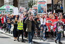 London, UK. 8 June, 2019. Animal rights and vegan campaigners attend the March To Close All Slaughterhouses to call for the abolition of the breeding, fishing and slaughter of animals. The activists claim that 164 million land animals and more than 2.74 billion aquatic animals are killed every day.