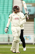 Rory Burns of Surrey County Cricket Club acknowledges his 50 during the LV County Championship Div Two match at the Kia Oval, London<br /> Picture by Mark Chappell/Focus Images Ltd +44 77927 63340<br /> 26/04/2015