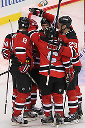 Nov 2; Newark, NJ, USA; The New Jersey Devils celebrate a goal by New Jersey Devils right wing Dainius Zubrus (8) during the first period at the Prudential Center.