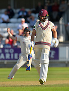 Wicket and tied match - Jack Leach of Somerset looks dejected after he is caught by Tom Bailey of Lancashire off the bowling of Keshav Maharaj of Lancashire during the Specsavers County Champ Div 1 match between Somerset County Cricket Club and Lancashire County Cricket Club at the Cooper Associates County Ground, Taunton, United Kingdom on 5 September 2018.