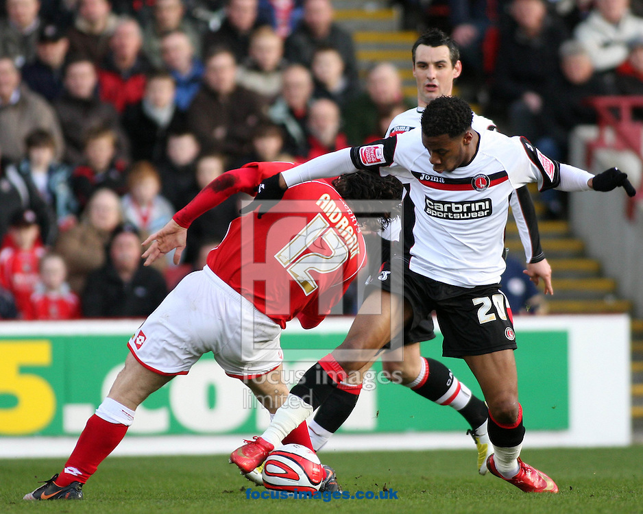 Barnsley - Saturday 21st February 2009 : Andranik Teymourian of Barnsley & Therry Racon of Charlton Athletic in action during the Coca Cola Championship match at Oakwell, Barnsley. (Pic by Steven Price/Focus Images)