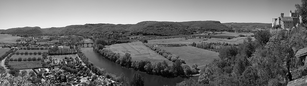 Black and White conversion of a stitched panorama of the Dordogne River at Beynac et Cazenac.
