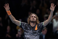 Tennis - 2019 Nitto ATP Finals at The O2 - Day Eight<br /> <br /> Singles Final : Stefanos Tsitsipas (Greece) Vs. Dominic Thiem (Austria)<br /> <br /> Stefanos Tsitsipas (Greece) takes the applause of the fans after his win at the ATP finals<br /> <br /> COLORSPORT/DANIEL BEARHAM