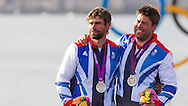 ENGLAND, Weymouth. 5th August 2012. Olympic Games. Star Class. Medal Ceremony. Iain Percy (GBR) Helm, Andrew Simpson (GBR) Crew, Siver medalists.
