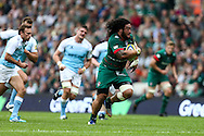Logovi'i Mulipola of Leicester Tigers (centre)  makes a break during the Aviva Premiership match at Welford Road, Leicester<br /> Picture by Andy Kearns/Focus Images Ltd 0781 864 4264<br /> 06/09/2014