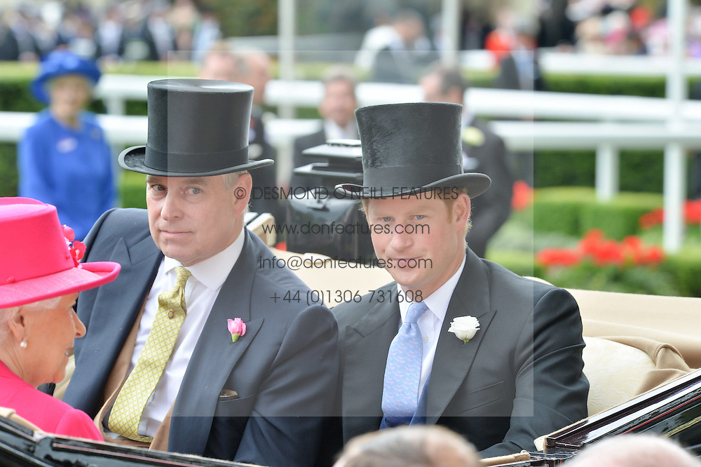 Left to right, HRH The DUKE OF YORK and HRH PRINCE HARRY at the 1st day of the Royal Ascot Racing Festival 2015 at Ascot Racecourse, Ascot, Berkshire on 16th June 2015.