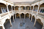 Interior courtyard of La Casa de las Conchas, Salamanca, Spain.