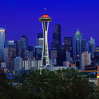 Seattle downtown cityscape centered around iconic Space Needle landmark, photographed from Kerry Park.