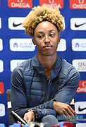 Brianna Rollins aka Brianna McNeal (USA) during a news conference at the Intercontinental Doha Hotel-The City, Thursday, May 2, 2019, in Doha, Qatar prior to the 2019 IAAF Diamond League Doha meeting. (Jiro Mochizuki/Image of Sport)