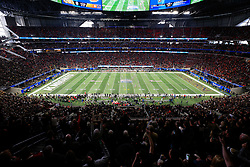 The Auburn Tigers kick off against the UCF Knights during the 2018 Chick-fil-A Peach Bowl NCAA football game on Monday, January 1, 2018 in Atlanta. (Daniel Shirey / Abell Images for the Chick-fil-A Peach Bowl)