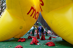 November 21, 2018 - Manhattan, New York, United States - Balloons seen being blown up during the 2018 Macy's Thanksgiving Day Parade preparations in Upper West side of Manhattan. (Credit Image: © Ryan Rahman/SOPA Images via ZUMA Wire)