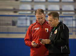 08.01.2014, Maspalomas, Gran Canaria, ESP, 1. FBL, FC Augsburg, Trainingslager, im Bild Stefan Reuter (Geschaeftsfuehrer Sport FC Augsburg), Stephan Schwarz (FCA-scouting) mit handys, // during the Trainingscamp of German Bundesliga Club FC Augsburg at the Maspalomas in Gran Canaria, Spain on 2014/01/08. EXPA Pictures © 2014, PhotoCredit: EXPA/ Eibner-Pressefoto/ Krieger<br /> <br /> *****ATTENTION - OUT of GER*****
