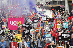 © Licensed to London News Pictures. 01/07/2017. London, UK. The People's Assembly anti-austerity demonstration sets off from Portland Place for Parliament. Speakers include Labour Party Leader Jeremy Corbyn. Photo credit: Peter Macdiarmid/LNP