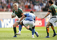 Paris, FRANCE - 9th September 2007, Jean de Villiers during the Rugby World Cup, pool A, match between South Africa and Samoa held at Parc Des Princes Stadium in Paris, France...Photo by RG/Sportzpics.net