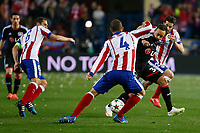Atletico de Madrid´s Koke (L) and Bayer 04 Leverkusen´s Bellarabi during the UEFA Champions League round of 16 second leg match between Atletico de Madrid and Bayer 04 Leverkusen at Vicente Calderon stadium in Madrid, Spain. March 17, 2015. (ALTERPHOTOS/Victor Blanco)