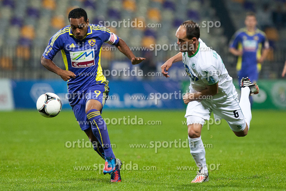 Marcos Tavares of NK Maribor and Aris Zarifovic of NK Olimpija during football match between NK Maribor and NK Olimpija Ljubljana in 14th Round of Slovenian First League PrvaLiga NZS 2012/31 on October 20, 2012 in Stadium Ljudski vrt, Maribor, Slovenia. (Photo By Gregor Krajncic / Sportida)