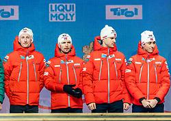 02.03.2019, Seefeld, AUT, FIS Weltmeisterschaften Ski Nordisch, Seefeld 2019, Siegerehrung, im Bild Weltmeister und Goldmedaillengewinner Espen Bjoernstad (NOR), Joergen Graabak (NOR), Jan Schmid (NOR), Jarl Magnus Riiber (NOR) // World champion and Gold medalist Espen Bjoernstad Joergen Graabak Jan Schmid Jarl Magnus Riiber of Norway during the winner Ceremony for the FIS Nordic Ski World Championships 2019. Seefeld, Austria on 2019/03/02. EXPA Pictures © 2019, PhotoCredit: EXPA/ Stefan Adelsberger