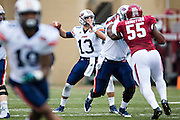 FAYETTEVILLE, AR - OCTOBER 31:  Jarod Neal #13 of the UT Martin Skyhawks throws a pass during a game against the Arkansas Razorbacks at Razorback Stadium on October 31, 2015 in Fayetteville, Arkansas.  The Razorbacks defeated the Skyhawks 63-28.  (Photo by Wesley Hitt/Getty Images) *** Local Caption *** Jarod Neal
