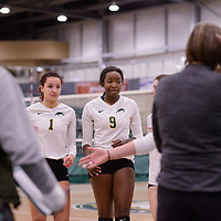 3rd year outside hitter Diana Lumbala (9) of the Regina Cougars in action during Women's Volleyball home game on February 2 at Centre for Kinesiology, Health and Sport. Credit: Arthur Ward/Arthur Images