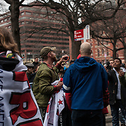 Washington DC, USA, 20 January, 2017. DisruptJ20 protesters argue with Trump supporters during the inauguration of Donald Trump.