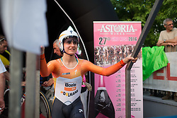 Megan Guarnier (USA) of Boels-Dolmans Cycling Team steps on the start ramp of the Giro Rosa 2016 - Prologue. A 2 km individual time trial in Gaiarine, Italy on July 1st 2016.