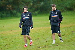 CARDIFF, WALES - Monday, October 13, 2008: Wales' Gareth Bale and Ched Evans during training at the Vale of Glamorgan Hotel ahead of the 2010 FIFA World Cup South Africa Qualifying Group 4 match against Germany. (Photo by David Rawcliffe/Propaganda)