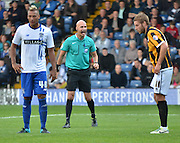Darren Drysdale makes sure everyone is paying attention for the corner during the Sky Bet League 1 match between Bury and Port Vale at Gigg Lane, Bury, England on 19 September 2015. Photo by Mark Pollitt.