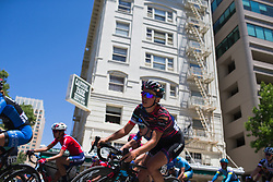 Katarzyna Niewiadoma (POL) of CANYON//SRAM Racing leans into a corner on Stage 3 of the Amgen Tour of California - a 70 km road race, starting and finishing in Sacramento on May 19, 2018, in California, United States. (Photo by Balint Hamvas/Velofocus.com)