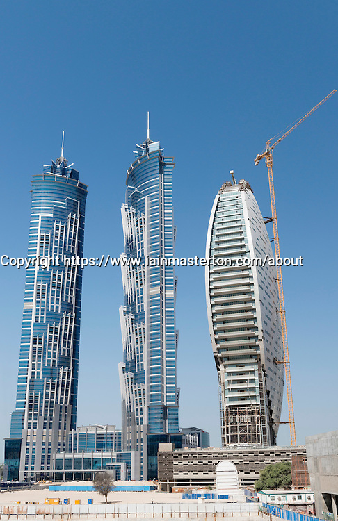 New skyscrapers under construction at Business Bay in Dubai United Arab Emirates, on the left JW Marriott Marquis hotel