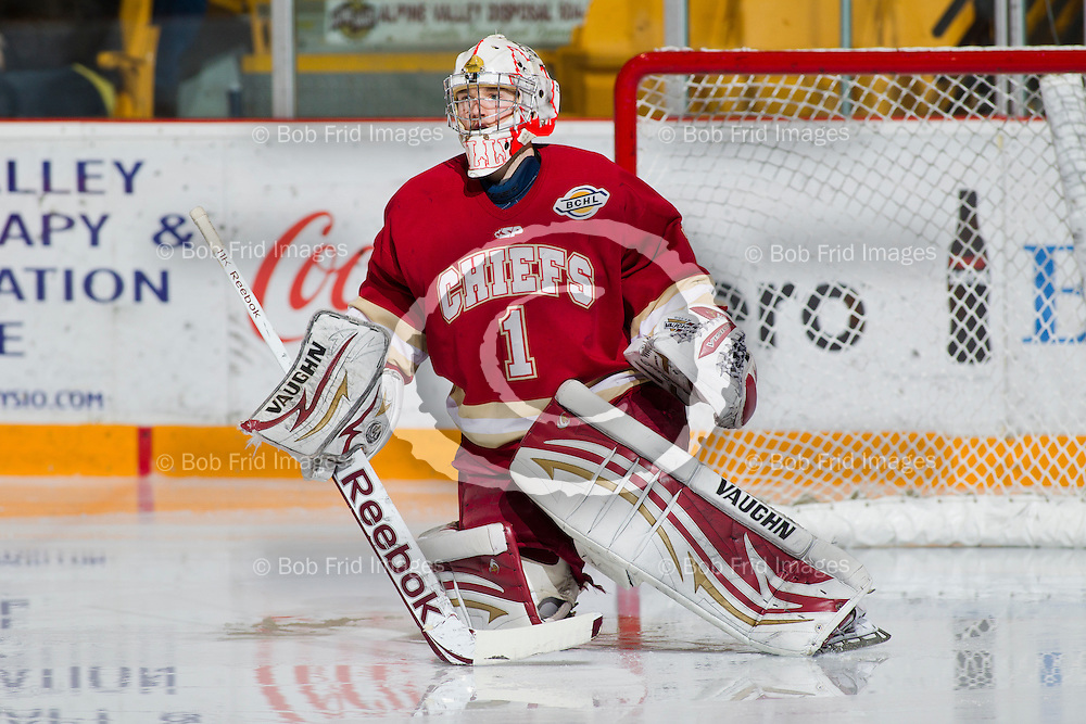 11 January 2013:  goalie Mitch Gillam (1) of the Chiefs  during a game between the Chilliwack Chiefs and the Prince George Spruce Kings at Prospera Centre, Chilliwack, BC.    Final Score: Chilliwack 3  Prince George 2 (OT)   ****(Photo by Bob Frid - All Rights Reserved 2012): mobile: 778-834-2455 : email: bob.frid@shaw.ca ****