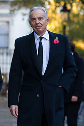 © Licensed to London News Pictures. 10/11/2019. London, UK. Former Prime Minister, Tony Blair walks through Downing Street to attend the Remembrance Sunday Ceremony at the Cenotaph in Whitehall. Remembrance Sunday events are held across the country today as the UK remembers and honours those who have sacrificed themselves in two world wars and other conflicts. Photo credit: Vickie Flores/LNP