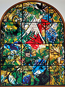 The Tribe of Issachar. The Twelve Tribes of Israel depicted in stained glass By Marc Shagall (1887 - 1985). The Twelve Tribes are Reuben, Simeon, Levi, Judah, Issachar, Zebulun, Dan, Gad, Naphtali, Asher, Joseph, and Benjamin.