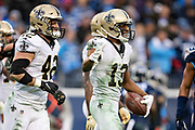 NASHVILLE, TN - DECEMBER 22:  Michael Thomas #13 of the New Orleans Saints smiles after making a catch during a game against the Tennessee Titans at Nissan Stadium on December 22, 2019 in Nashville, Tennessee. The Saints defeated the Titans 38-28.  (Photo by Wesley Hitt/Getty Images) *** Local Caption *** Michael Thomas
