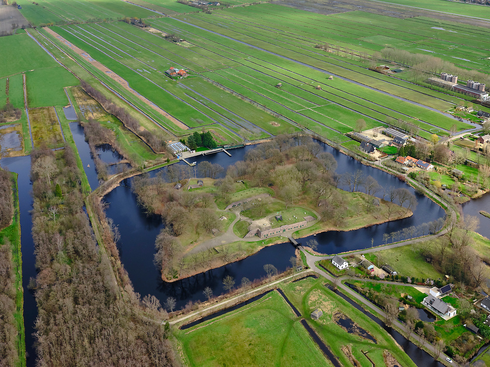 Nederland, Utrecht, Utrecht, 25-02-2020; Fort Ruigenhoek, nabij Groenekan, Onderdeel van de Nieuwe Hollandse Waterlinie.<br /> Fort Ruigenhoek, part of the New Dutch Waterline.<br /> <br /> luchtfoto (toeslag op standard tarieven);<br /> aerial photo (additional fee required)<br /> copyright © 2020 foto/photo Siebe Swart