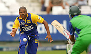 CAPE TOWN, SOUTH AFRICA - 14 December 2008, Vernon Philander just fails to catch Imraan Khan off his own bowling during the MTN Domestic Championship match between The Nashua Cape Cobras and Nashua Dolphins held at Sahara Park Newlands in Cape Town, South Africa..Photo by www.sportzpics.net