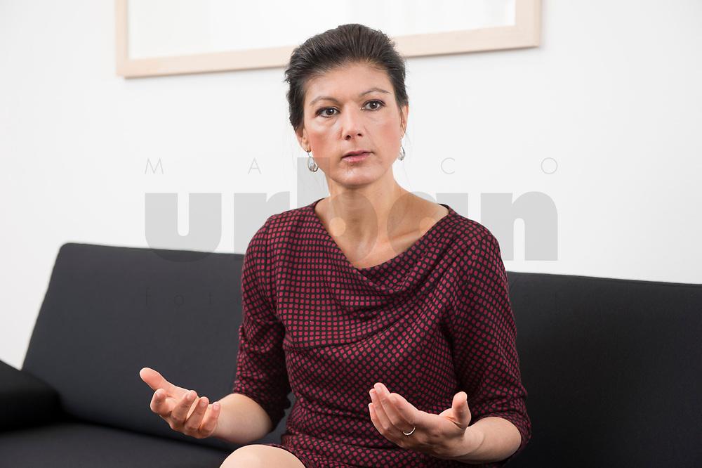 16 MAY 2016, BERLIN/GERMANY:<br /> Sahra Wagenknecht, MdB, Die Linke, Fraktionsvorsitzende DIe Linke Bundestagsfraktion, waehrend einem Interview, in ihrem Buero, Jakob-Kaiser-Haus, Deutscher Bundestag<br /> IMAGE: 20170516-02-033<br /> KEYWORDS: B&uuml;ro